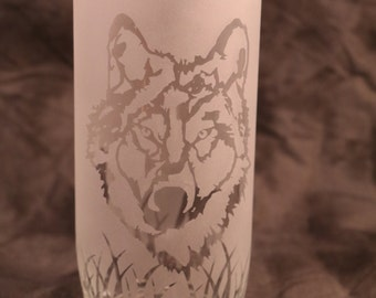 Wolf face mountain Etched Frosted Candle Holder