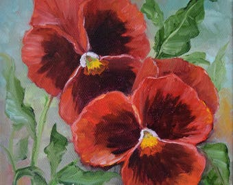 RESERVED for CP,Pansies II,Still Life Painting,Original Canvas Oil Painting by Cheri Wollenberg