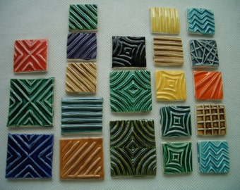 21PS - COLORFUL Stamped SQUARES - Ceramic Mosaic Tiles