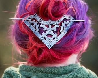 Steampunk Winged Gear Leather Hair Barrette SCA, Renaissance , LARP