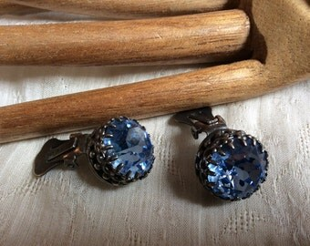 Vintage big Austrian crystal clip on stud earrings, bride's something blue crystal earrings, ornate prong set blue faceted big crystal clips