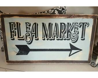 Handpainted Rustic Sign,  Flea Market Sign, Cottage Decor, Arrow Sign, Vintage Sign, Wall Decor, Framed Wood Sign, Flea Market Decor