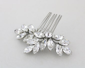 Crystal Bridal hair comb, Leaf hair comb, Rhinestone hair comb, Wedding hair clip, Wedding hair accessories, Swarovski crystal headpiece