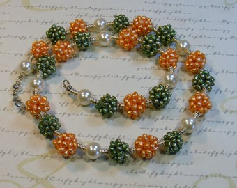 Spring Pearl Punch-necklace, green orange and white, freshwater, 21 inches or 53 cm