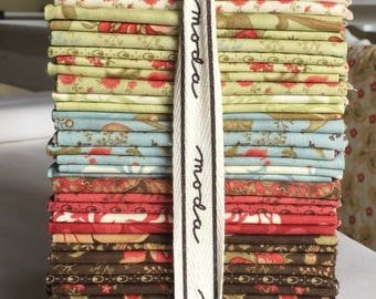 Fat Quarter Bundle Shangri-La RARE Out of Print 3 Sisters RedBrownBlue Quilting Sewing Floral piecesofpine
