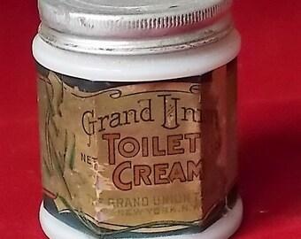 Vintage Grand Union Toilet Cold Cream Jar with Paper Label