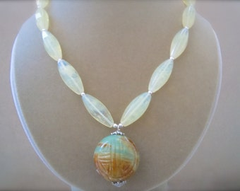 Cascade -- Carved Jade and Lemon Quartz Necklace