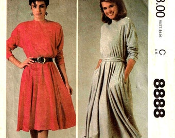 Stretch Full Circle Dress and Sash Sewing Pattern McCalls 8888 Size Small  8, 10 Medium 14, 16 Vintage 1980s Bust 32.5 34 36 38 Cut