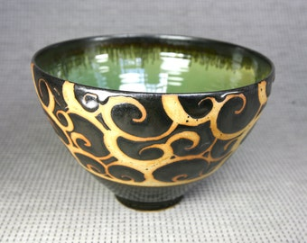 Black and Green Swirl Tim Bowl