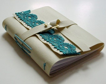 Gift For Her Under Twenty-five Dollars - Faux Leather Journal - Cream and Teal