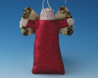 Angel Doll, Angel Ornament, Red Sparkly