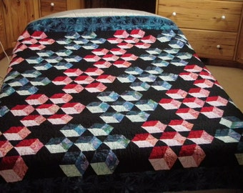 Queen Quilt Handmade blue red black Tumbling Block Quiltsy