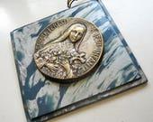 Antique Saint Therese platelet, Antique Saint Therese relic, Antique saint platelet, Antique saint relic, Antique Saint wall hanging