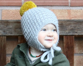 Baby Hat Pattern, PDF Knitting Pattern, Child Hat Pattern, Earflap Hat Pattern, CULLEN, hat with pompom PDF, Baby Knitting pdf,