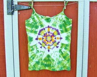 Women's Medium Tie Dye Tank Top - Lotus Blossom Mandala - Ready to Ship