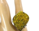 RESERVED - #2 Green Amber Ring, Sterling Silver, Vintage Jewelry, Size 6, Adjustable Band, Big Statement, Modern Mod, Large Huge, Am