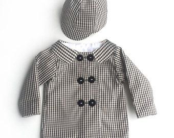 Black and Cream Gingham Boys Matching Raincoat and Rain Hat, Toddler Raincoat, Baby Raincoat, Baby Boy Raincoat, Baby Boy Clothes
