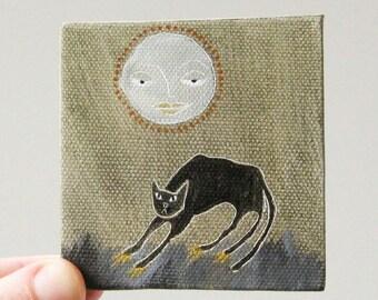 black cat, pumpkin moon / cat art, original small painting