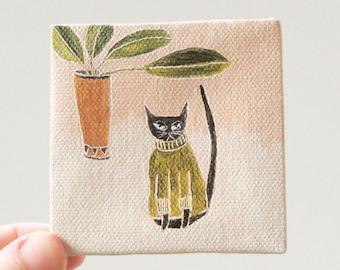 cat sweater in avocado / cat art, original small painting