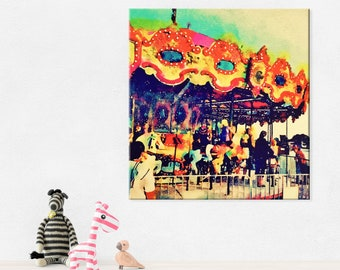 Merry Go Round Carousel - Carnival Theme Canvas Art Print - Carnival Picture - Circus Theme - Gender Neutral Nursery - Vintage Retro - 8x8