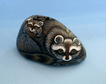 Raccoon-OOAK 3D original art object-spring gifts-home decor-hand painted pet rocks-miniature animal-figurines-collectible-accessories-mother