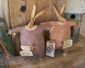 """Primitive Grungy Bunny Art Doll Easter Baby Duo Set Tucks Stained Paper Poems """"Peter & Pearl"""" Ofg Faap Hafair"""