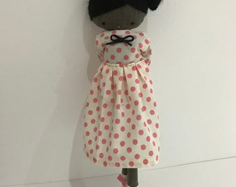 Handmade rag doll, black rag doll - cloth art rag doll polka dots dress