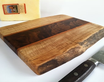 Live Edge Beautiful Reclaimed Hardwoods Small Cheese and Sushi Serving/Cutting Board