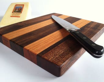 RECLAIMED Sapele, Black Walnut and Mahogany Oh My! Small THICK cutting board. Priority Shipping