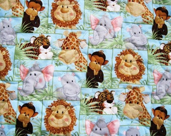 Baby quilt baby blanket nursery decor tummy time Flannel back  Baby jungle animals quilt  baby boy blue green  Quiltsy handmade