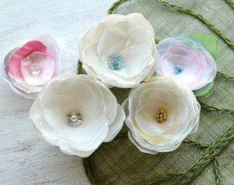 Fabric flowers, applique grab bag , handmade organza appliques, floral embellishments (5pcs)- Grab Bag in Assorted Colors (mix set 347)