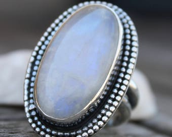 Moonstone Ring, Sterling Silver Ring, Statement Ring, Gemstone Ring, Rustic Ring, 925 Silver Ring, Artisan Ring