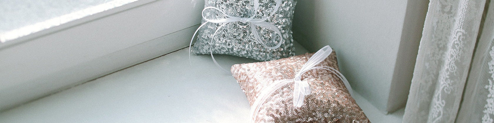 Modern Ring Pillows : Modern wedding garters ring pillows and headpieces by louloudimeli