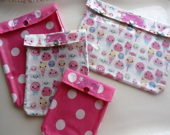 Sweet Treats Ouch Pouch 4 Piece Set Kawaii Candy Fabric with Clear Front Bags for Baby Supplies Diapers First Aid Girl Summer Camp Travel