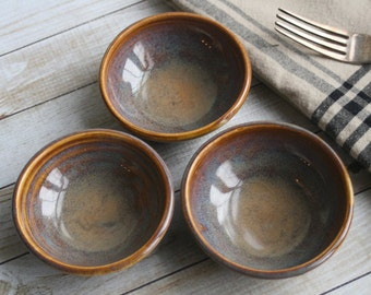 Three Small Rustic Ceramic Bowls In Amber Glaze Handmade Stoneware Bowls Ready to Ship Made in USA