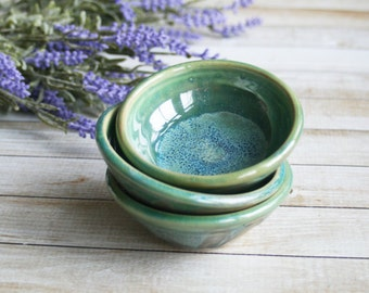 Shimmering Green Prep Bowls Set of Three Shiny Kitchen Bowls Handmade Ceramic Bowls Ready to Ship Green Pottery Made in USA