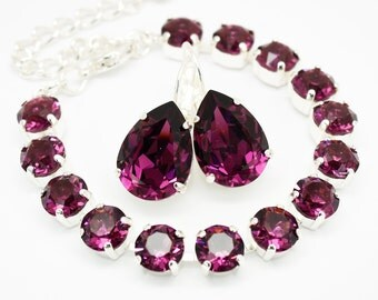 Amethyst Bracelet Silver, Swarovski Eggplent Purple Rhinestone Bracelet Chaton Bracelet Swarovski Elements, Bridal Bridesmaids Wedding