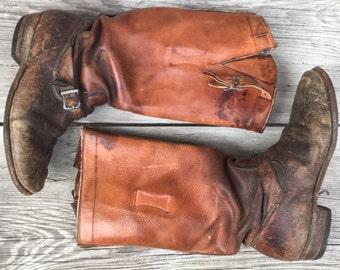 Motorcycle Boots 1930s- 1940s  Men's Sz 7.5 Women's 9.5 Brown Leather worn buckle Tall biker WWII Work Wear Unisex