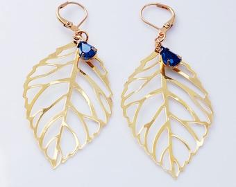 Gold Leaf Earrings | Leaf Boho Earrings | Botanical Earrings | Woodland Earrings | Blue Swarovski | Statement Leaves | Simple Gold Jewelry