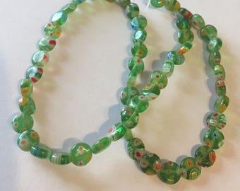 Green Millefiori Glass Flower Puffy Coin Beads -  7mm round - 15 inch