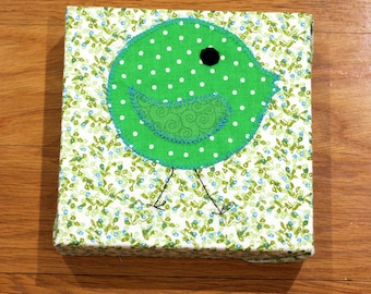 Green Bird - Nursery Wall Art - Toddler Room Wall Art - Fabric Canvas Print - In Stock and Ready to Ship