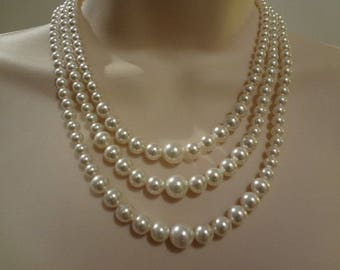 3 strand pearl necklace,Wedding Bridal Pearl Necklace Vintage Style, Triple strand necklace Marci PN072