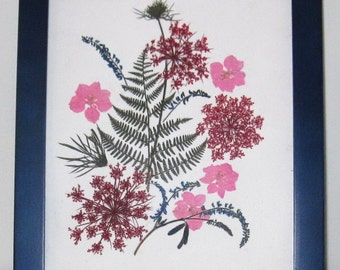 Colorful real pressed flowers 8x10 in blue Malden frame