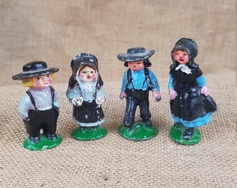 Vtg Amish cast iron/lead family 4 kids children hand painted figurines Americana