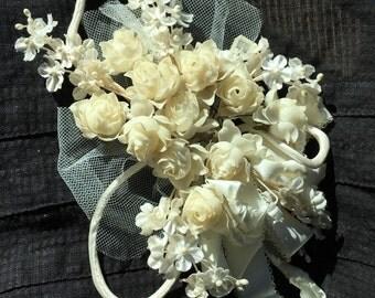 Vintage Bridal Silk Flower Hair Corsage Hair Accessory