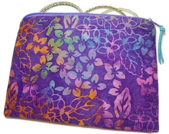 Padded Zipper Cosmetic Pouch in Purple and Gold Leafy Batik Print