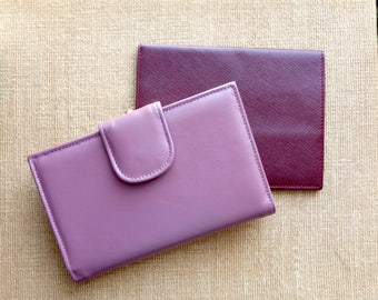 Women's Leather Wallet Mauve BUXTON Large Multi Compartment Bi-Fold Coin Purse Credit Card NEW Old Stock Vintage 1980s - Mother's Day Gift
