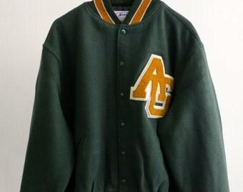 30% off SPRING SALE The AG Green Letterman Jacket