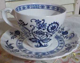 Lovely - Vintage Porcelain Tea Cup and Saucer - England - J-G Meakin - Nordic - Blue colors on White -