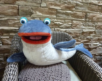 Whale -  big plush moving mouth hand puppet